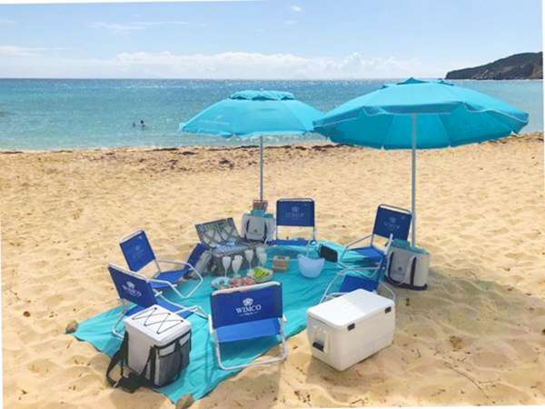St Barths Beach picnic catered by WIMCO Villas, Aux Amis Restaurant and Le Barthelemy Hotel