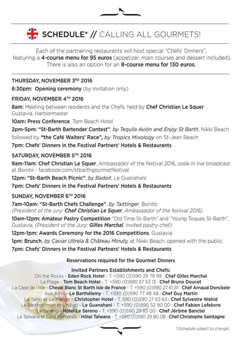 St Barth Gourmet Festival 2016 schedule