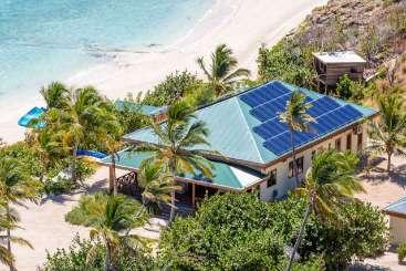 Aerial photo of Villa EUS BH2 (Beach House 2 at Eustacia) at Eustatia Island, Eustatia, Family-Friendly, Pool, 2 Bedroom, 2 Bathroom, WiFi, WIMCO Villas