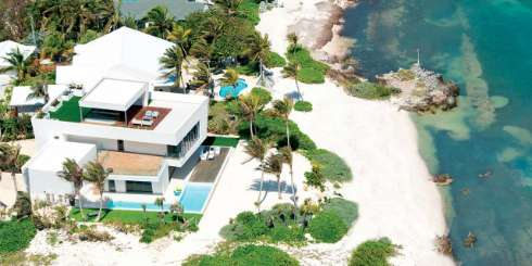 Aerial photo of Villa GCM OMP (Olympus) at Rum Point, Grand Cayman, Family-Friendly, Pool, 4 Bedroom, 4.5 Bathroom, WiFi, WIMCO Villas