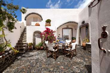 Dining Room at Villa MED CYR (Cyrene) at Santorini, Greece, Family-Friendly, No Pool, 2 Bedroom, 2 Bathroom, WiFi, WIMCO Villas