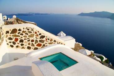 Exterior of Villa MED WHT (White House) at Santorini, Greece, Family-Friendly, No Pool, 3 Bedroom, 3 Bathroom, WiFi, WIMCO Villas