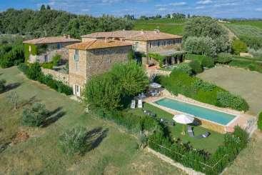 Aerial photo of Villa BRV GEG (Alfieri) at Tuscany/Siena, Italy, Family-Friendly, Pool, 5 Bedroom, 5 Bathroom, WiFi, WIMCO Villas