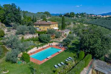 Aerial photo of Villa BRV IMP (Impruneta) at Tuscany/Florence, Italy, Family-Friendly, Pool, 8 Bedroom, 8 Bathroom, WiFi, WIMCO Villas