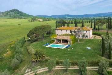 Aerial photo of Villa BRV MNA (Maremmana) at Tuscany/Maremma Coast, Italy, Family-Friendly, Pool, 6 Bedroom, 7 Bathroom, WiFi, WIMCO Villas