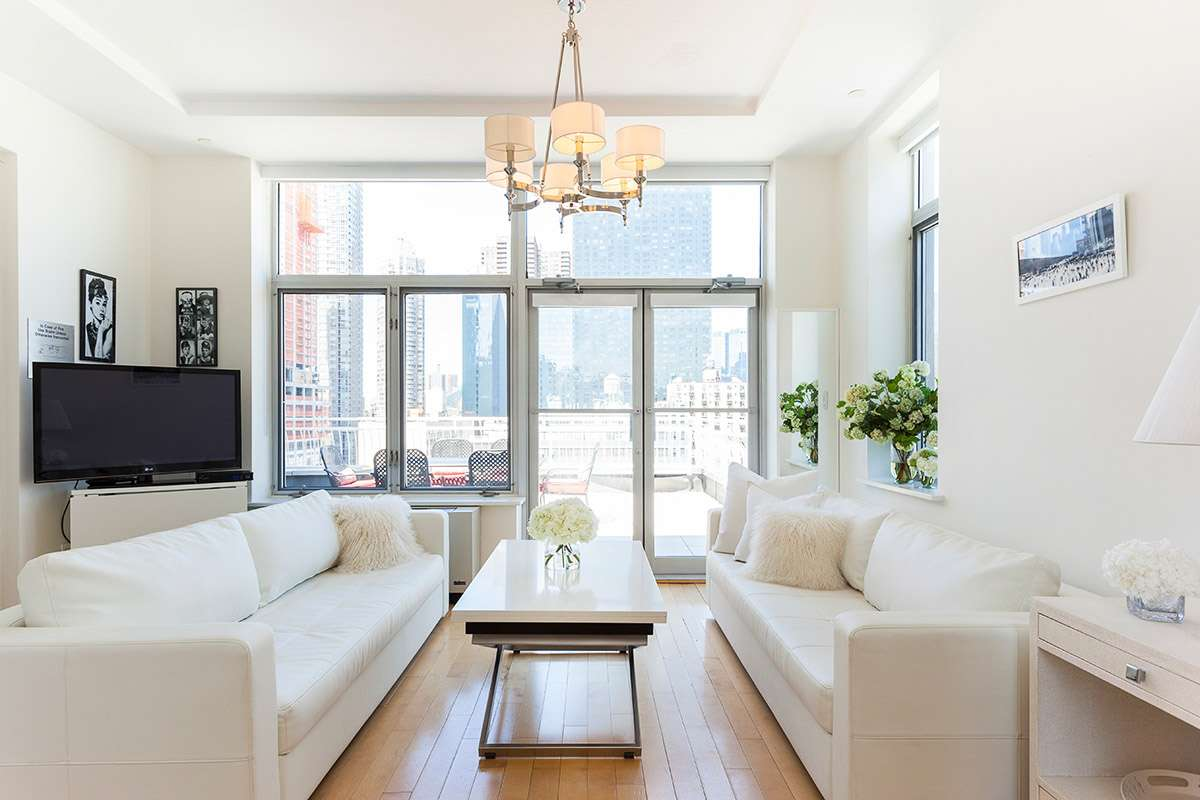 Living Room at Villa NYA WSA (West Side Midtown Apartment) at Manhattan, New York, Family-Friendly, No Pool, 3 Bedroom, 2 Bathroom, WiFi, WIMCO Villas