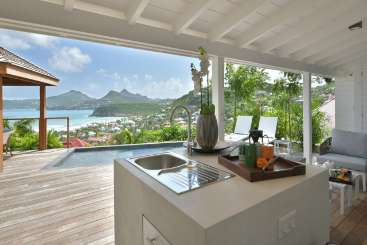 Kitchen at Villa WV STT (Silhouette) at Anse des Cayes, St. Barthelemy, Pool, 1 Bedroom, 1 Bathroom, WiFi, WIMCO Villas
