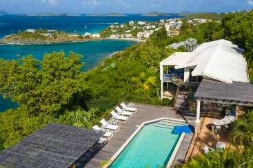Aerial photo of Villa CT ALT (Altagracia) at Great Cruz Bay, St. John, Family-Friendly, Pool, 4 Bedroom, 4 Bathroom, WiFi, WIMCO Villas