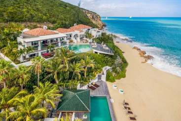 Aerial photo of Villa PIE DPI (L'Oasis) at Beach Side/Baie Rouge, St. Martin, Family-Friendly, Pool, 6 Bedroom, 6.5 Bathroom, WiFi, WIMCO Villas