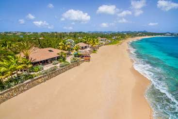 Aerial photo of Villa PIE DRE (Blue Beach) at Beach Side/Baie Longue, St. Martin, Family-Friendly, Pool, 4 Bedroom, 4 Bathroom, WiFi, WIMCO Villas