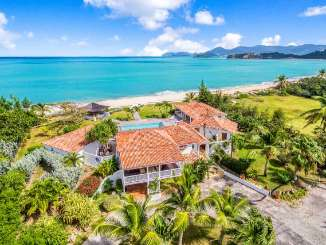 Aerial photo of Villa SXM CCV (Casa Cervo) at Beach Side/Baie Rouge, St. Martin, Family-Friendly, Pool, 5 Bedroom, 5 Bathroom, WiFi, WIMCO Villas