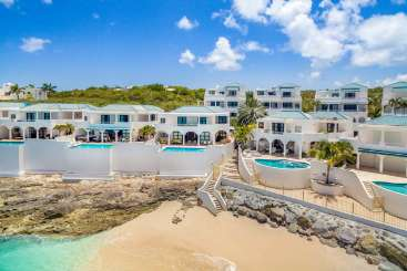 Aerial photo of Villa C LNA (Luna) at Beachfront/Cupecoy, St. Martin, Family-Friendly, Pool, 3 Bedroom, 4.5 Bathroom, WiFi, WIMCO Villas