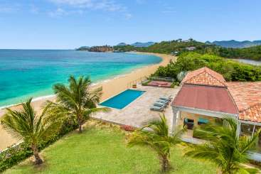 Aerial photo of Villa C HOO (La Vie en Bleu) at Beach Side/Baie Rouge, St. Martin, Pool, 2 Bedroom, 2 Bathroom, WiFi, WIMCO Villas