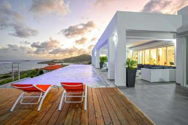 Deck at Villa PIE BMR (Bel Amour) at Hillside/Dawn Beach, St. Martin, Family-Friendly, Pool, 6 Bedroom, 6 Bathroom, WiFi, WIMCO Villas