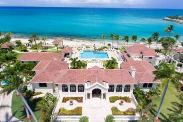 Aerial photo of Villa PIE CHA (Le Chateau des Palmiers) at Beach Side/Plum Beach, St. Martin, Family-Friendly, Pool, 10 Bedroom, 10.5 Bathroom, WiFi, WIMCO Villas