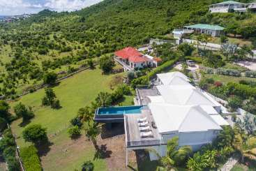 Aerial photo of Villa PIE DIS (Discovery) at Hillside/Orient, St. Martin, Family-Friendly, Pool, 3 Bedroom, 3 Bathroom, WiFi, WIMCO Villas