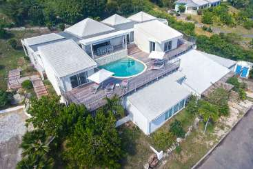 Aerial photo of Villa PIE OCV (Ocean View) at Hillside/Orient, St. Martin, Family-Friendly, Pool, 3 Bedroom, 3.5 Bathroom, WiFi, WIMCO Villas