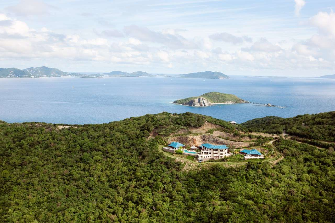 Aerial photo of Villa PTR FAL (Falcon's Nest at Peter Island) at Peter Island, Tortola, Family-Friendly, Pool, 6 Bedroom, 7 Bathroom, WiFi, WIMCO Villas