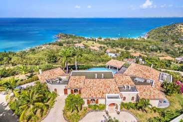 Aerial photo of Villa PIE HAP (Happy Bay) at Mt. Choisy, St. Martin, Family-Friendly, Pool, 4 Bedroom, 4 Bathroom, WiFi, WIMCO Villas