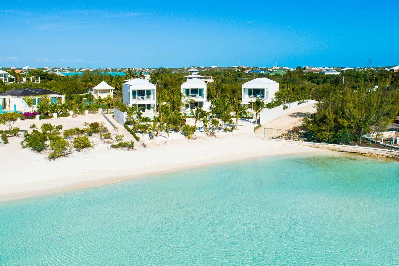Aerial photo of Villa TC BAR (Bari) at Ocean Pt/Taylors, Turks & Caicos, Family-Friendly, Pool, 1 Bedroom, 2 Bathroom, WiFi, WIMCO Villas